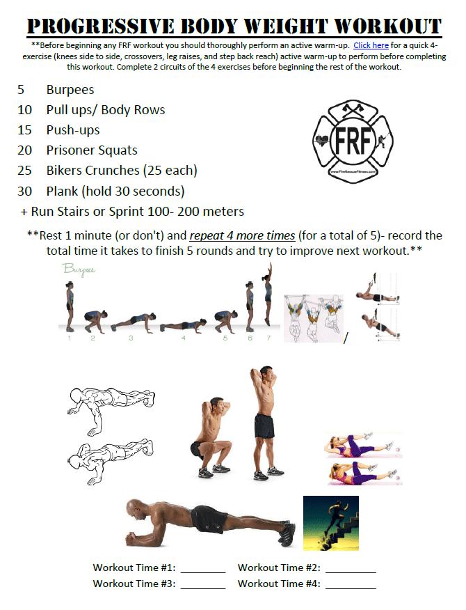 Firefighter Progressive Body Weight Workout